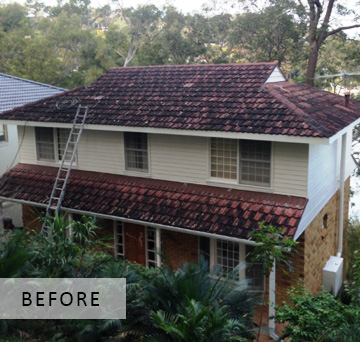 BEFORE PHOTO Residential roof spraying/painting in Sydney
